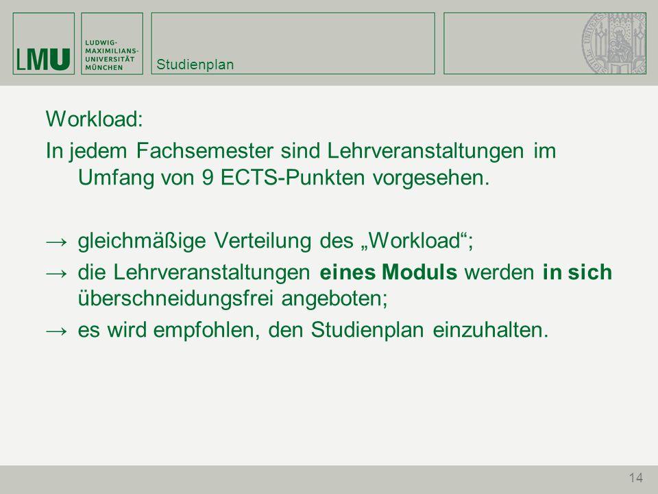 14 Studienplan Workload: In jedem Fachsemester sind Lehrveranstaltungen im Umfang von 9 ECTS-Punkten vorgesehen. gleichmäßige Verteilung des Workload;