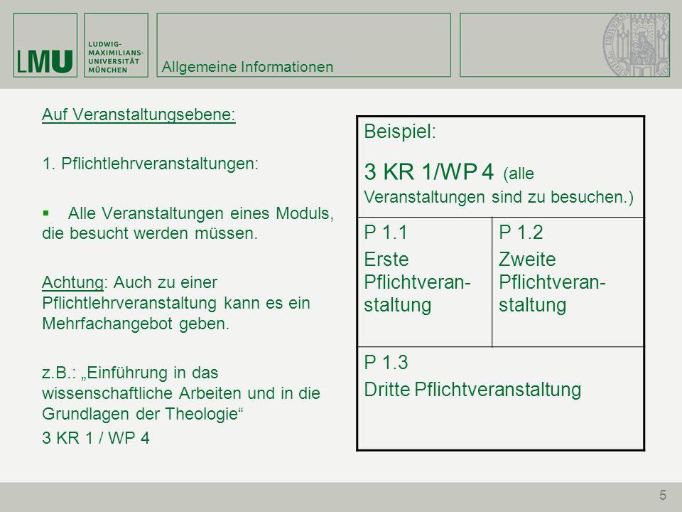 5 Allgemeine Informationen Auf Veranstaltungsebene: 1.