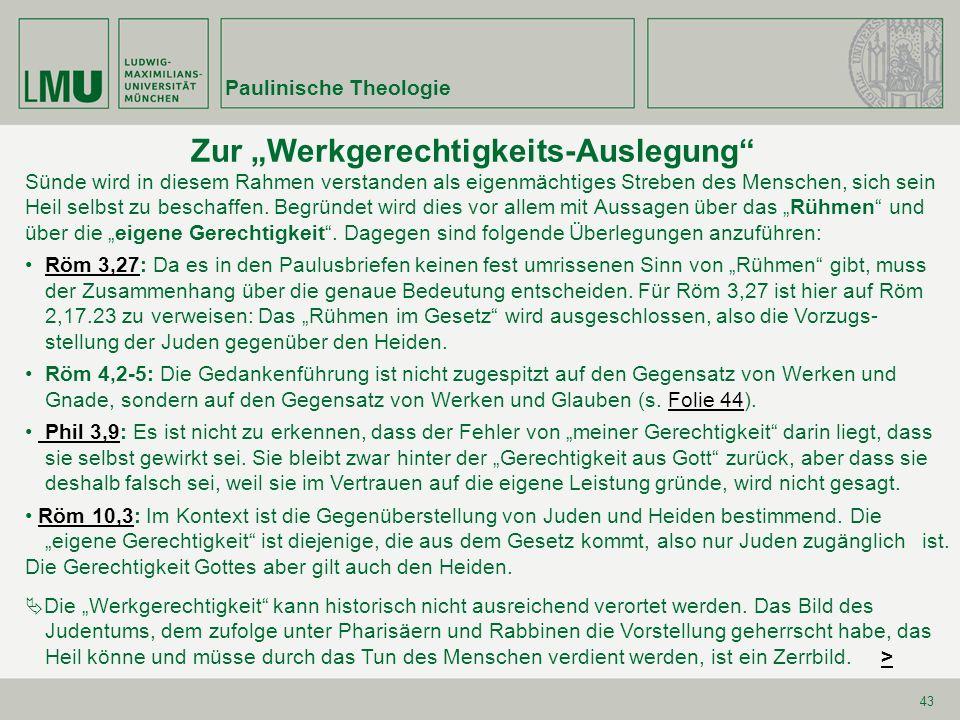 Paulinische Theologie 64 Zu Röm 1,26fRöm 1,26f Zu einer angemessenen Interpretation von Röm 1,26f ist (im Anschluss an W.