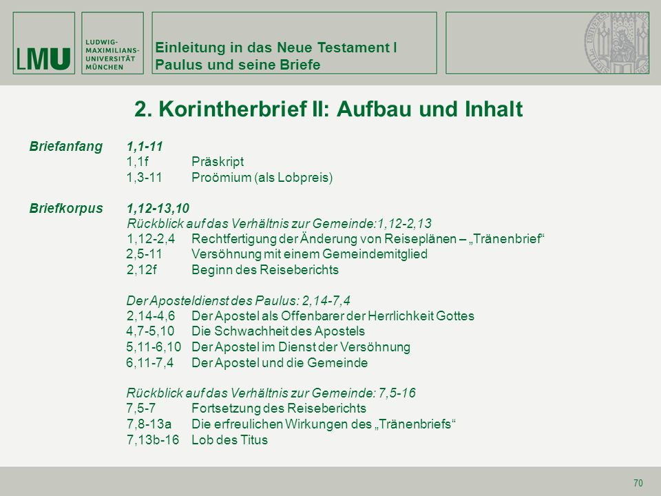 Einleitung in das Neue Testament I Paulus und seine Briefe 70 2. Korintherbrief II: Aufbau und Inhalt Briefanfang 1,1-11 1,1fPräskript 1,3-11Proömium