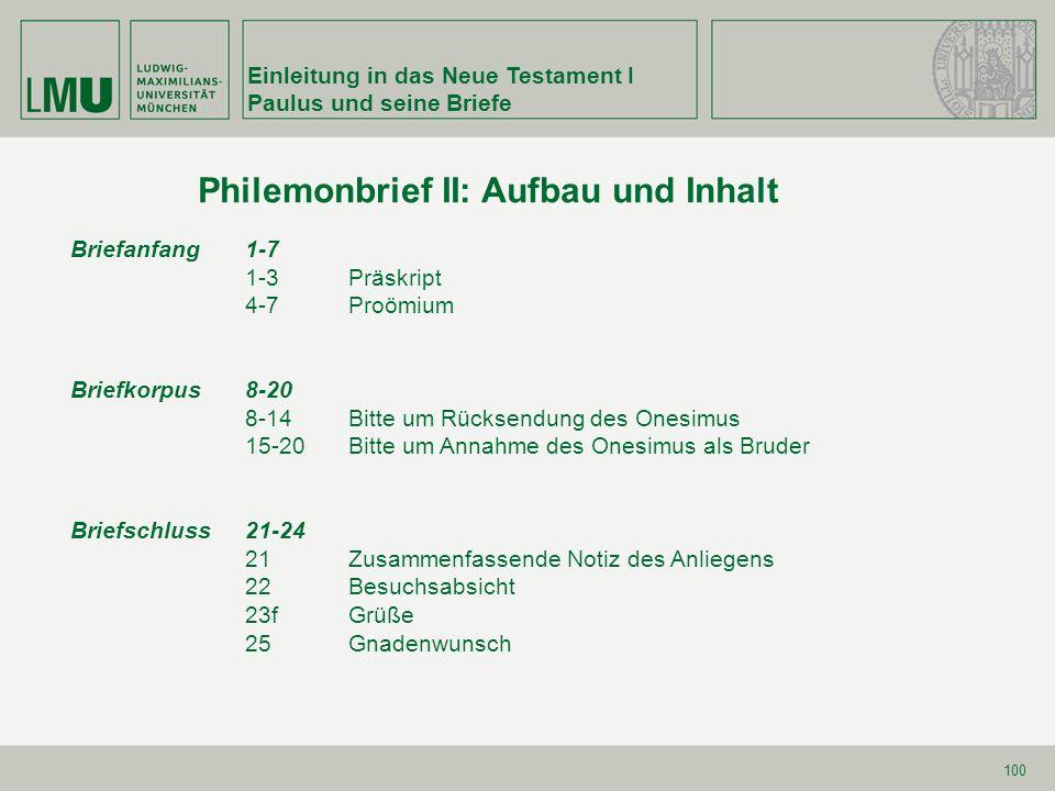 Einleitung in das Neue Testament I Paulus und seine Briefe 100 Briefanfang 1-7 1-3Präskript 4-7Proömium Briefkorpus8-20 8-14Bitte um Rücksendung des O