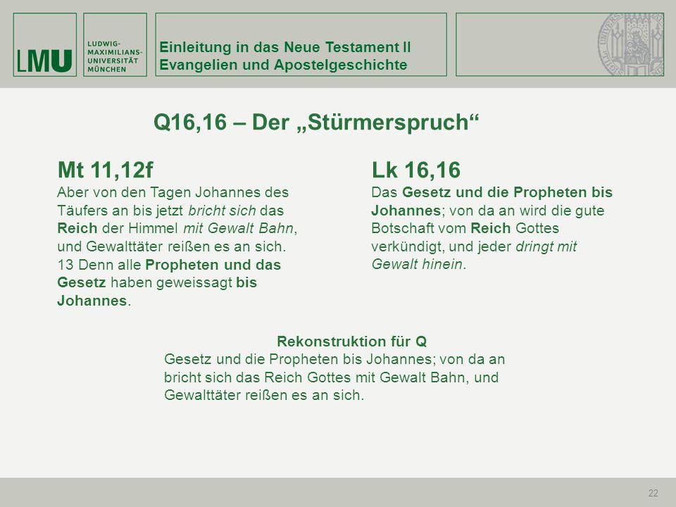 Einleitung in das Neue Testament II Evangelien und Apostelgeschichte 22 Q16,16 – Der Stürmerspruch Mt 11,12f Aber von den Tagen Johannes des Täufers a