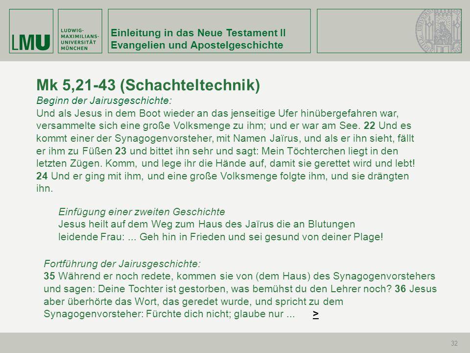 Einleitung in das Neue Testament II Evangelien und Apostelgeschichte 32 Mk 5,21-43 (Schachteltechnik) Beginn der Jairusgeschichte: Und als Jesus in de