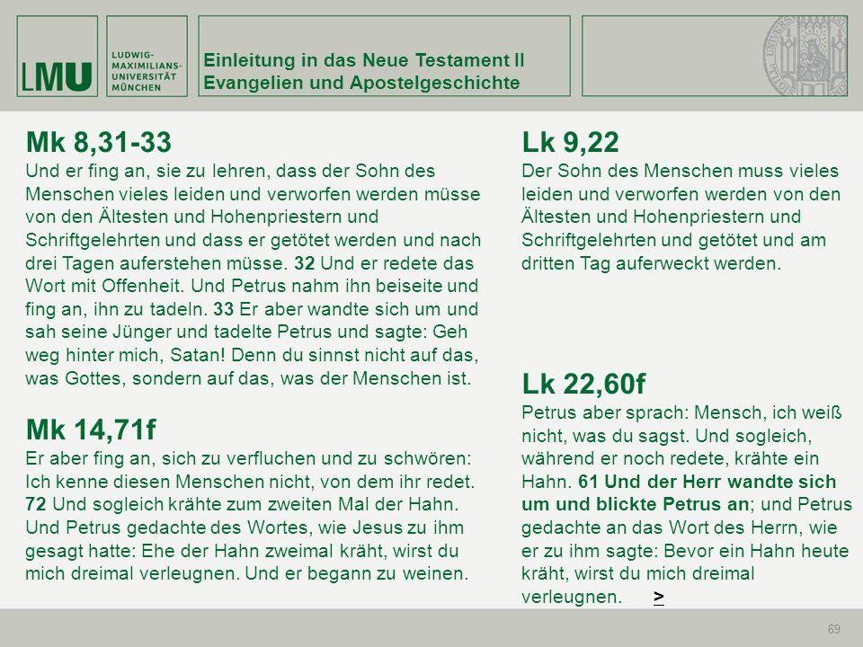 Einleitung in das Neue Testament II Evangelien und Apostelgeschichte 69 Mk 8,31-33 Und er fing an, sie zu lehren, dass der Sohn des Menschen vieles le