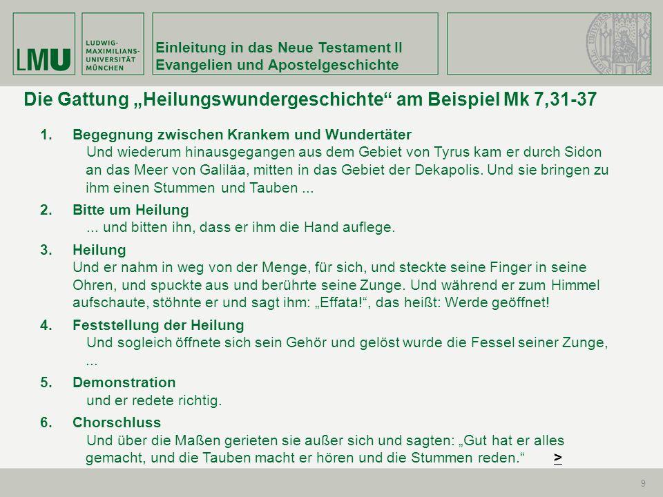 Einleitung in das Neue Testament II Evangelien und Apostelgeschichte 30 Mk 7,2-4 Und als sie einige seiner Jünger mit unreinen, das ist ungewaschenen, Händen Brot essen sahen 3 – denn die Pharisäer und alle Juden essen nicht, wenn sie sich nicht sorgfältig die Hände gewaschen haben, indem sie die Überlieferung der Ältesten festhalten; 4 und vom Markt (kommend), essen sie nicht, wenn sie sich nicht gewaschen haben; und vieles andere gibt es, was sie zu halten übernommen haben: Waschungen der Becher und Krüge und Kupfergefäße – 5 fragen ihn die Pharisäer und die Schriftgelehrten...