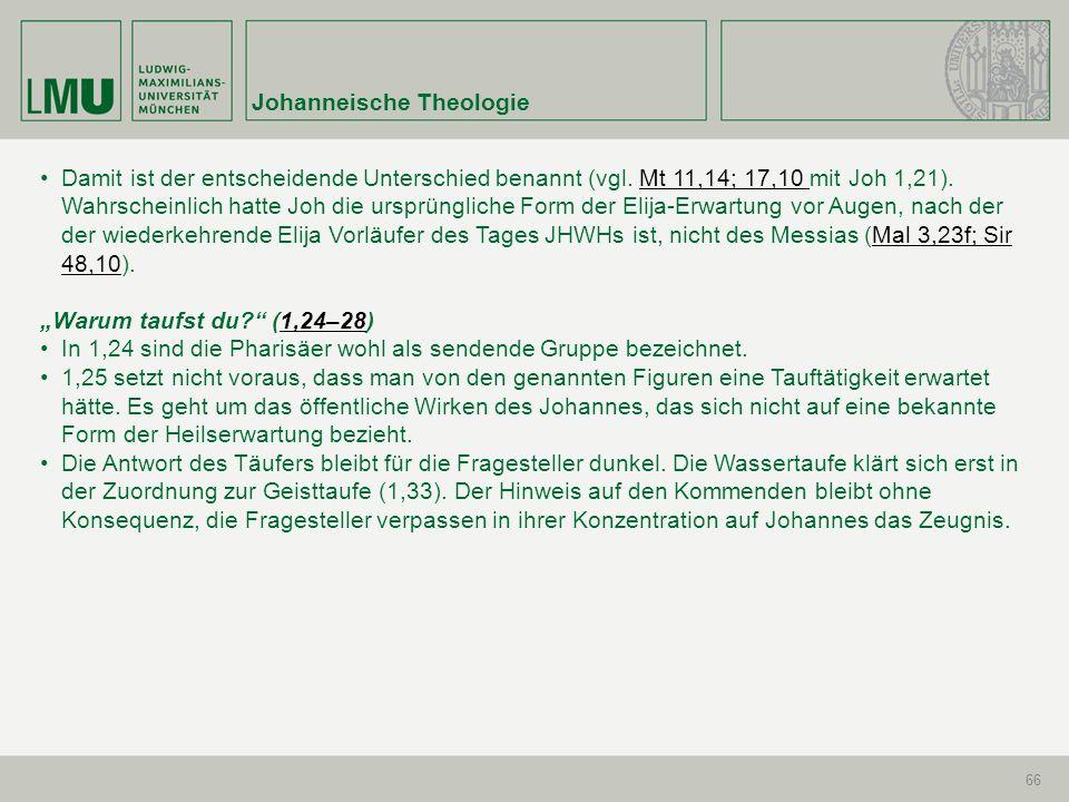 Johanneische Theologie 66 Damit ist der entscheidende Unterschied benannt (vgl. Mt 11,14; 17,10 mit Joh 1,21). Wahrscheinlich hatte Joh die ursprüngli