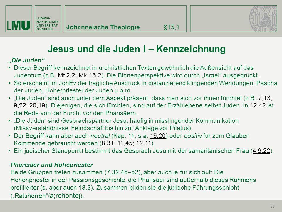 Johanneische Theologie§15,1 85 Die Juden Dieser Begriff kennzeichnet in urchristlichen Texten gewöhnlich die Außensicht auf das Judentum (z.B. Mt 2,2;