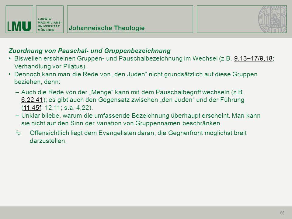 Johanneische Theologie 86 Zuordnung von Pauschal- und Gruppenbezeichnung Bisweilen erscheinen Gruppen- und Pauschalbezeichnung im Wechsel (z.B. 9,13–1