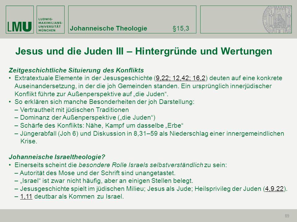 Johanneische Theologie§15,3 89 Zeitgeschichtliche Situierung des Konflikts Extratextuale Elemente in der Jesusgeschichte (9,22; 12,42; 16,2) deuten au