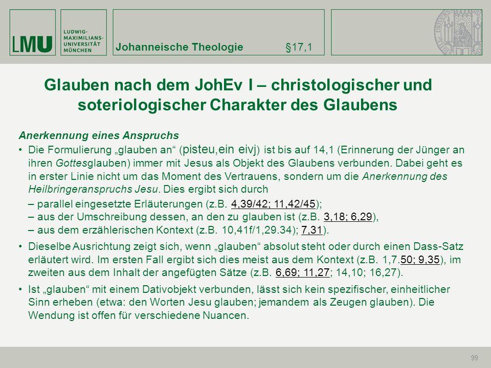 Johanneische Theologie§17,1 99 Anerkennung eines Anspruchs Die Formulierung glauben an ( pisteu,ein eivj ) ist bis auf 14,1 (Erinnerung der Jünger an