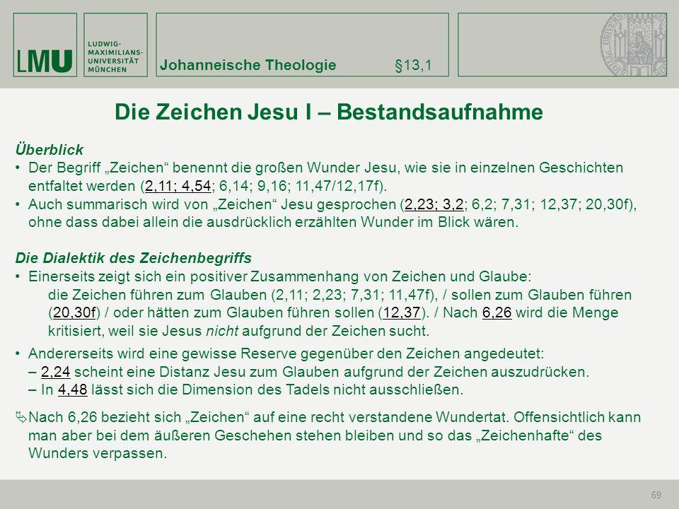 Johanneische Theologie§13,1 69 Überblick Der Begriff Zeichen benennt die großen Wunder Jesu, wie sie in einzelnen Geschichten entfaltet werden (2,11;
