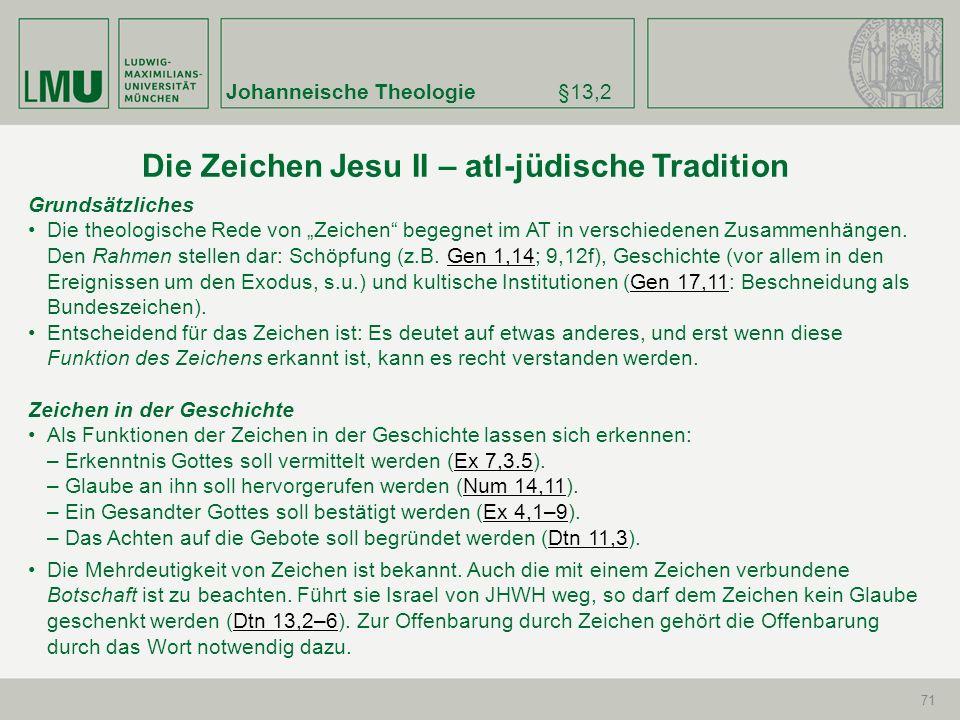 Johanneische Theologie§13,2 71 Grundsätzliches Die theologische Rede von Zeichen begegnet im AT in verschiedenen Zusammenhängen. Den Rahmen stellen da
