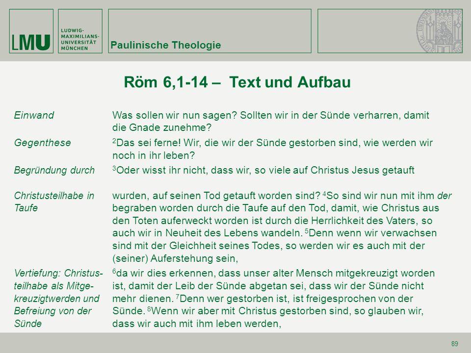 89 Röm 6,1-14 – Text und Aufbau Einwand Was sollen wir nun sagen? Sollten wir in der Sünde verharren, damit die Gnade zunehme? Gegenthese 2 Das sei fe