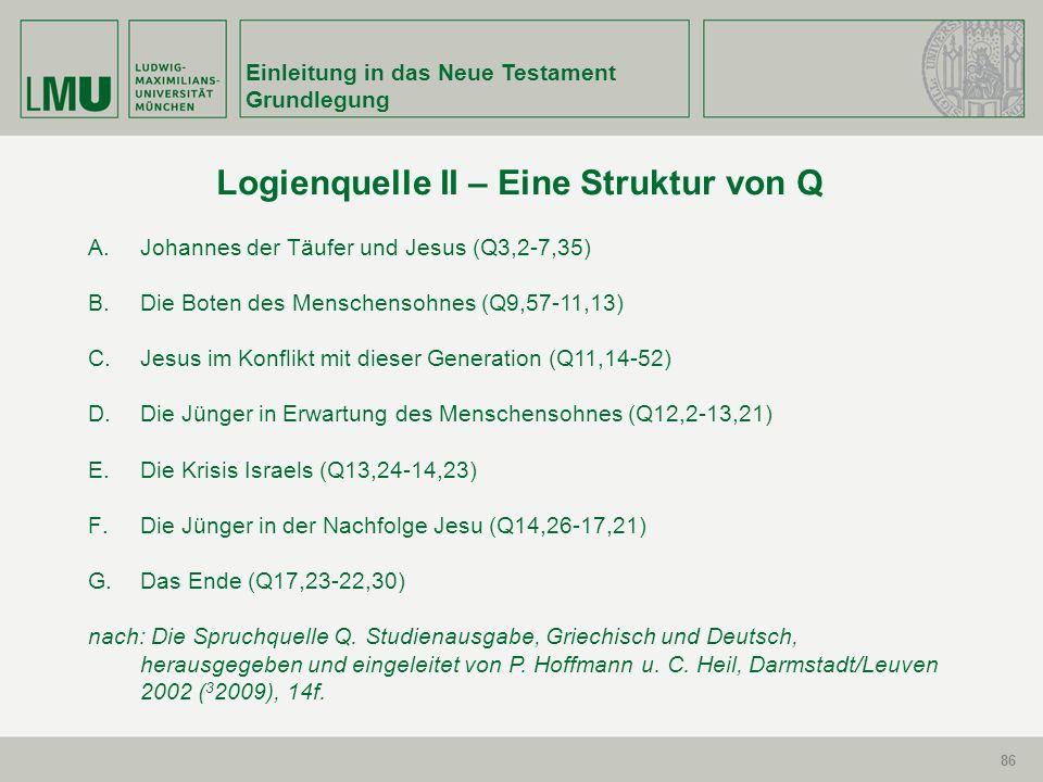 86 Einleitung in das Neue Testament Grundlegung 86 Logienquelle II – Eine Struktur von Q A. Johannes der Täufer und Jesus (Q3,2-7,35) B.Die Boten des