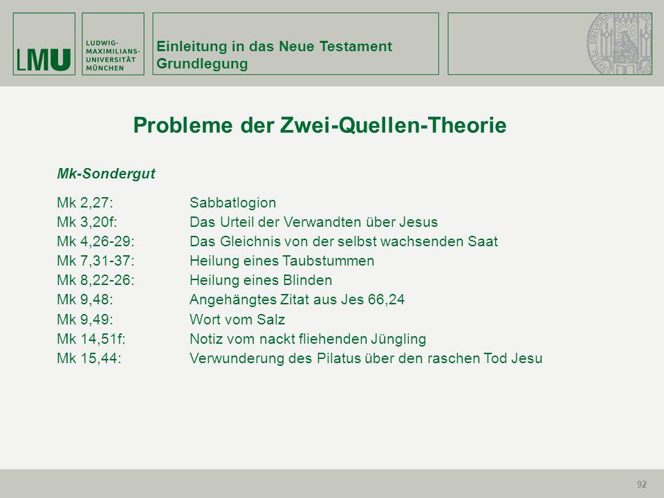 92 Einleitung in das Neue Testament Grundlegung 92 Probleme der Zwei-Quellen-Theorie Mk-Sondergut Mk 2,27:Sabbatlogion Mk 3,20f:Das Urteil der Verwand