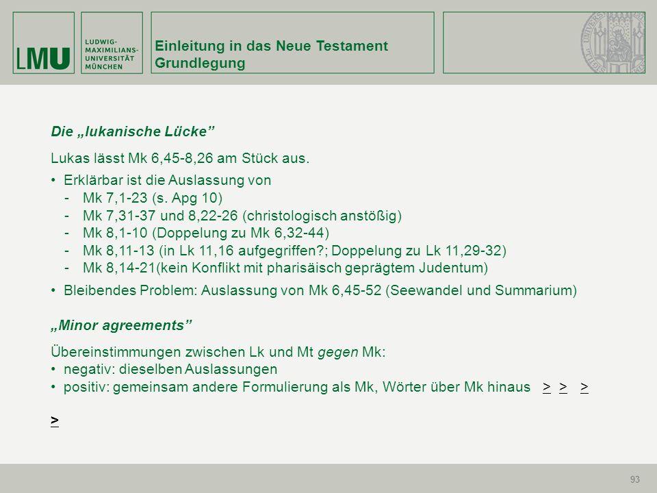93 Einleitung in das Neue Testament Grundlegung 93 Die lukanische Lücke Lukas lässt Mk 6,45-8,26 am Stück aus. Erklärbar ist die Auslassung von -Mk 7,