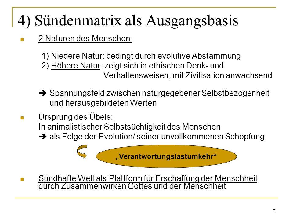 7 4) Sündenmatrix als Ausgangsbasis 2 Naturen des Menschen: 1) Niedere Natur: bedingt durch evolutive Abstammung 2) Höhere Natur: zeigt sich in ethisc