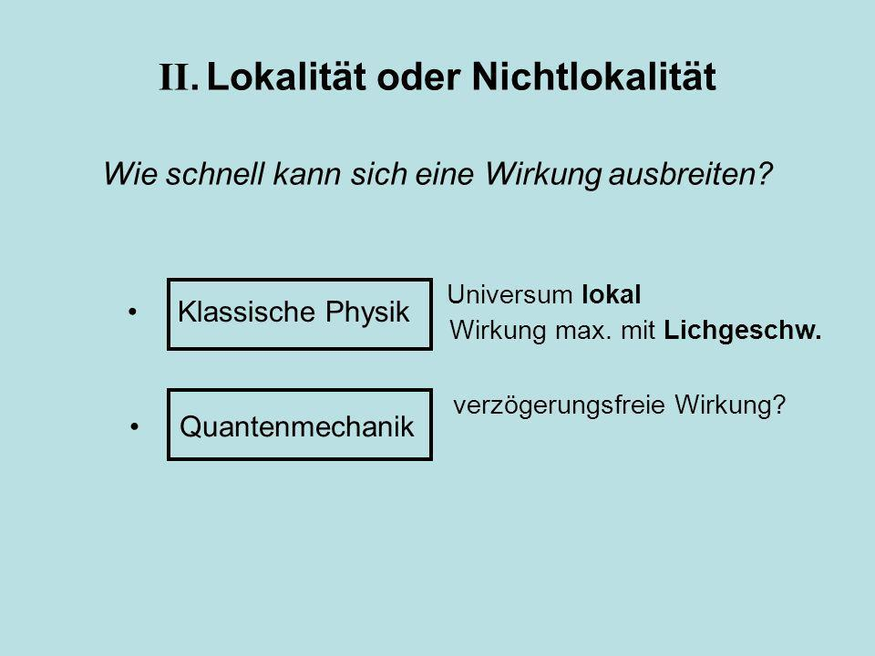 Klassische Physik Quantenmechanik II. Lokalität oder Nichtlokalität Wie schnell kann sich eine Wirkung ausbreiten? Universum lokal verzögerungsfreie W