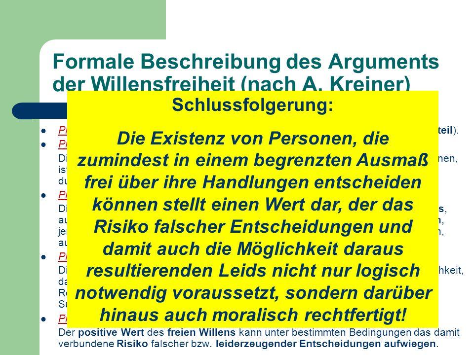 Formale Beschreibung des Arguments der Willensfreiheit (nach A. Kreiner) Prämisse 1: Es gibt Wesen bzw. Personen mit einem freien Willen (=Existenzurt