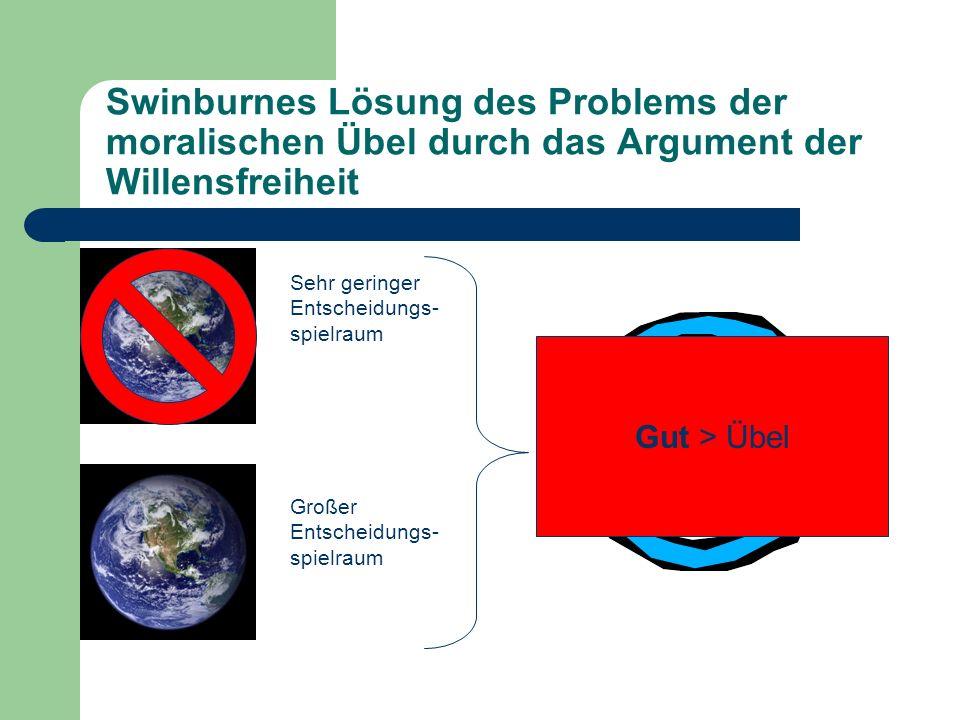 Swinburnes Lösung des Problems der moralischen Übel durch das Argument der Willensfreiheit Sehr geringer Entscheidungs- spielraum Großer Entscheidungs
