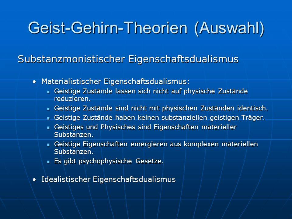 Geist-Gehirn-Theorien (Auswahl) Substanzmonistischer Eigenschaftsdualismus Materialistischer Eigenschaftsdualismus:Materialistischer Eigenschaftsduali