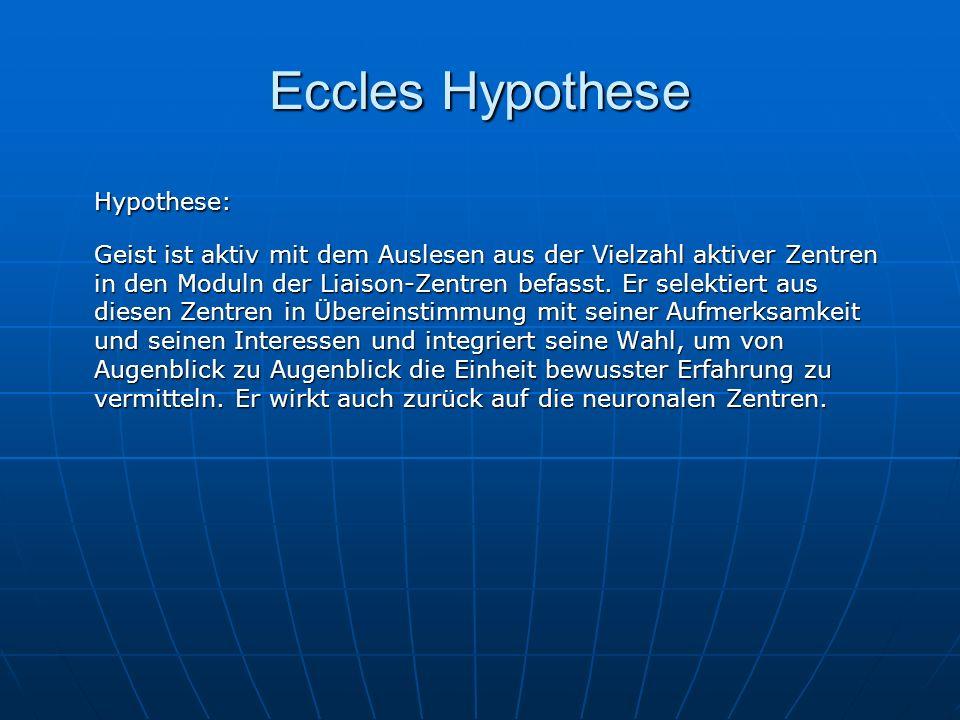 Eccles Hypothese Hypothese: Geist ist aktiv mit dem Auslesen aus der Vielzahl aktiver Zentren in den Moduln der Liaison-Zentren befasst. Er selektiert