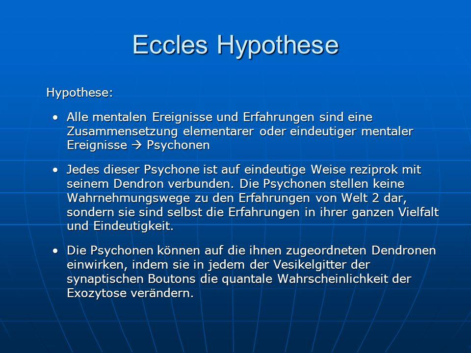 Eccles Hypothese Hypothese: Alle mentalen Ereignisse und Erfahrungen sind eine Zusammensetzung elementarer oder eindeutiger mentaler Ereignisse Psycho