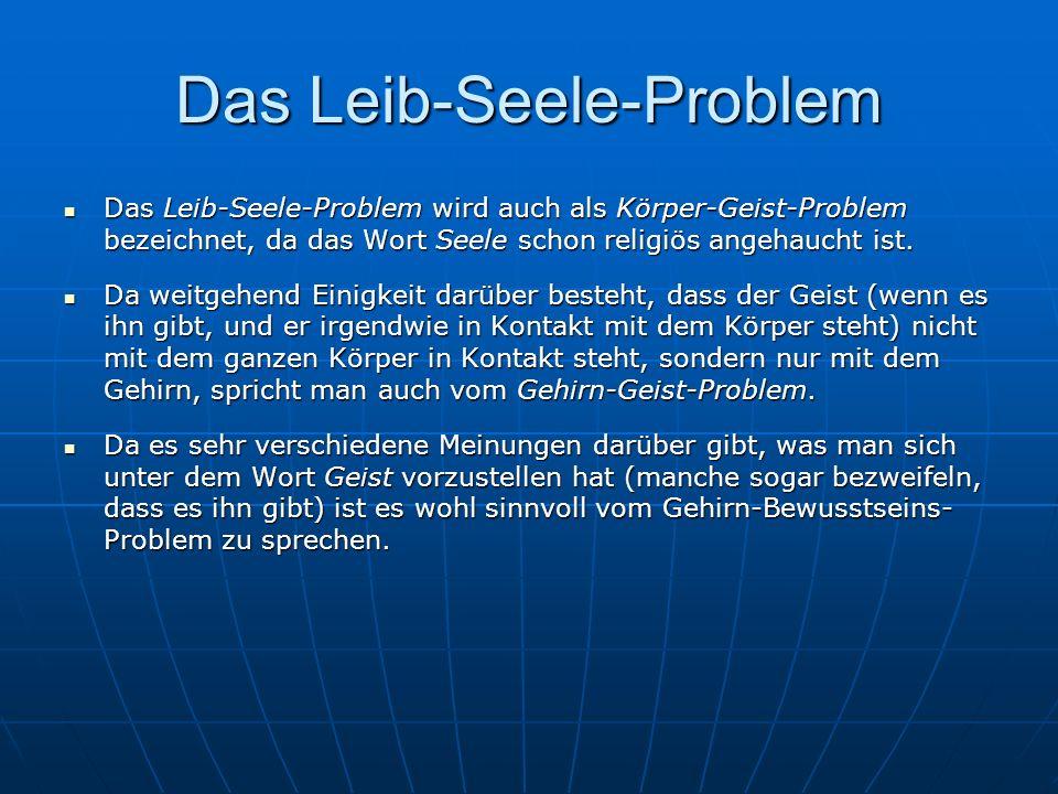 Das Leib-Seele-Problem Das Leib-Seele-Problem wird auch als Körper-Geist-Problem bezeichnet, da das Wort Seele schon religiös angehaucht ist. Das Leib