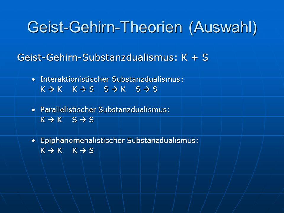 Geist-Gehirn-Theorien (Auswahl) Geist-Gehirn-Substanzdualismus: K + S Interaktionistischer Substanzdualismus:Interaktionistischer Substanzdualismus: K