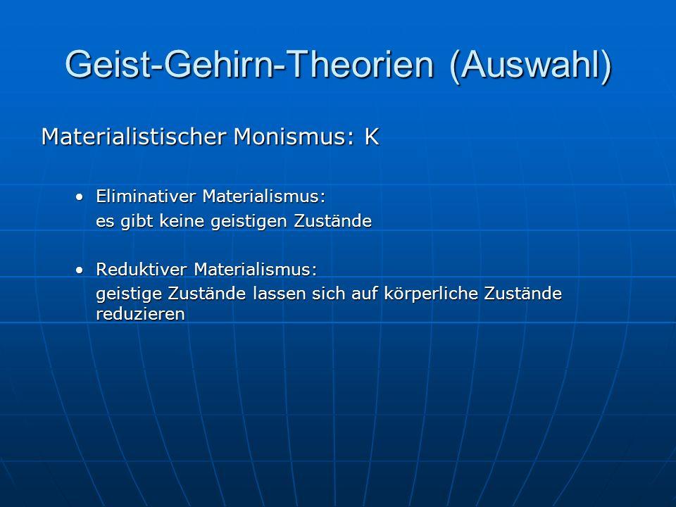 Geist-Gehirn-Theorien (Auswahl) Materialistischer Monismus: K Eliminativer Materialismus:Eliminativer Materialismus: es gibt keine geistigen Zustände
