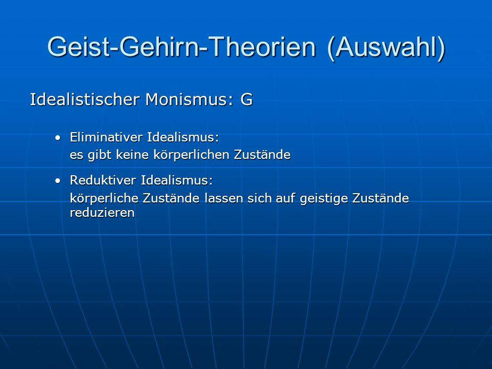 Geist-Gehirn-Theorien (Auswahl) Idealistischer Monismus: G Eliminativer Idealismus:Eliminativer Idealismus: es gibt keine körperlichen Zustände Redukt