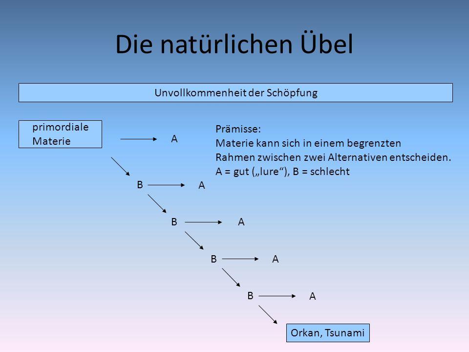 Die natürlichen Übel Unvollkommenheit der Schöpfung primordiale Materie A B Orkan, Tsunami B B B A A A A Prämisse: Materie kann sich in einem begrenzt