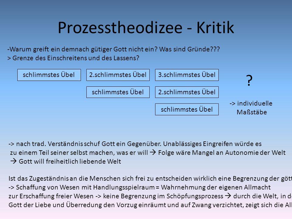 Prozesstheodizee - Kritik Ist das Zugeständnis an die Menschen sich frei zu entscheiden wirklich eine Begrenzung der göttlichen Allmacht? -> Schaffung