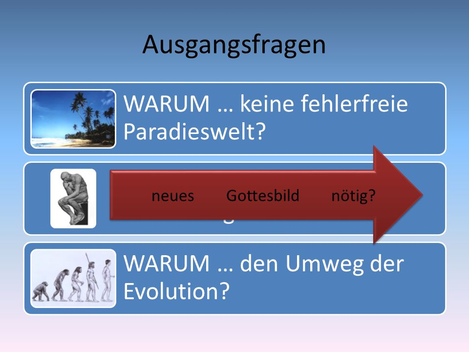 Ausgangsfragen WARUM … keine fehlerfreie Paradieswelt? WIE … kann der Mensch autonom gedacht werden? WARUM … den Umweg der Evolution? nötig?Gottesbild