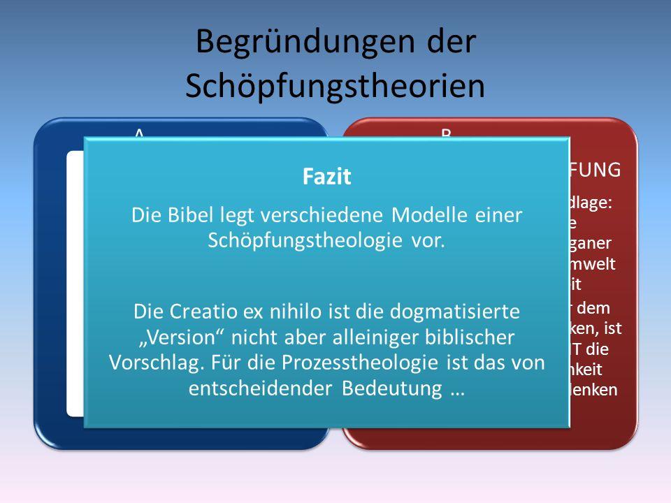 Begründungen der Schöpfungstheorien A CREATIO EX NIHILO - SCHÖPFUNG Biblische Grundlage: 2 Makk 7 – allerdings sehr zweifelhaft Traditionelle Sicht de