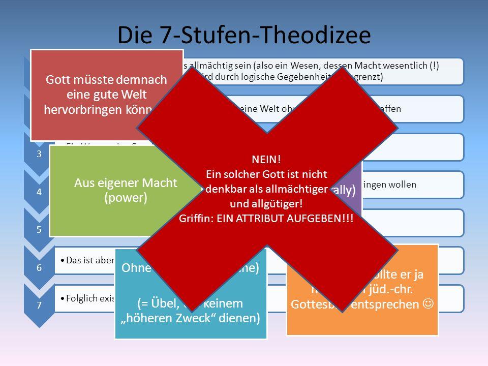 Die 7-Stufen-Theodizee 1 Ein Wesen, das Gott ist, muss allmächtig sein (also ein Wesen, dessen Macht wesentlich (!) unbegrenzt ist – es sei denn es wi