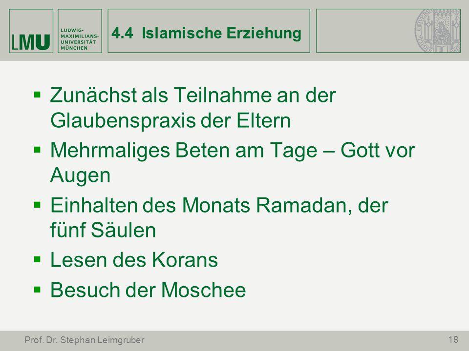 18 Prof. Dr. Stephan Leimgruber 4.4 Islamische Erziehung Zunächst als Teilnahme an der Glaubenspraxis der Eltern Mehrmaliges Beten am Tage – Gott vor