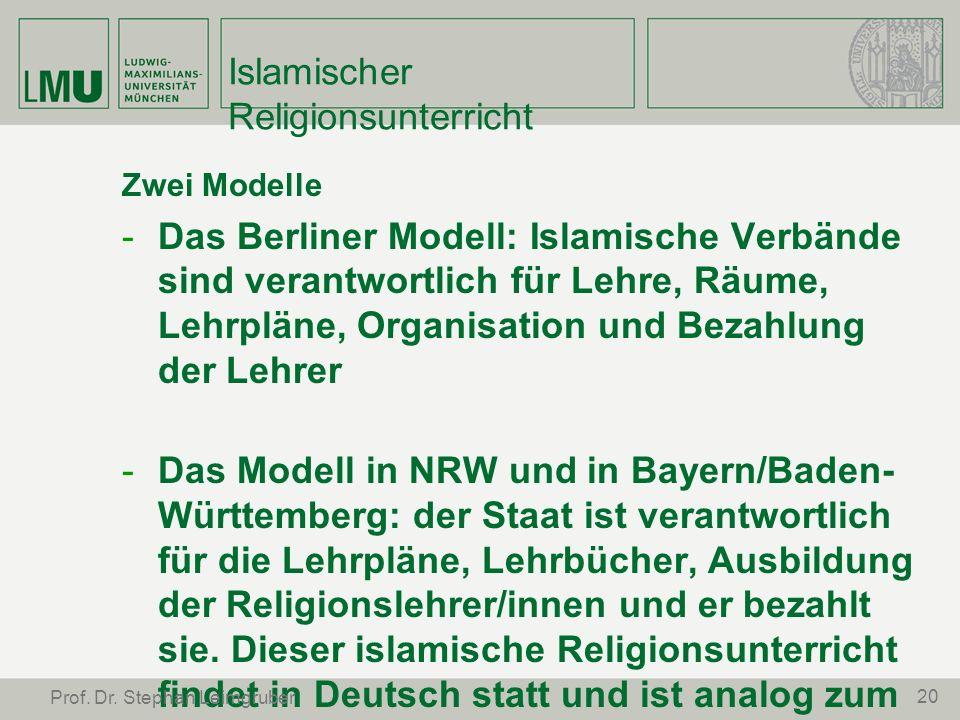 Islamischer Religionsunterricht Zwei Modelle -Das Berliner Modell: Islamische Verbände sind verantwortlich für Lehre, Räume, Lehrpläne, Organisation u