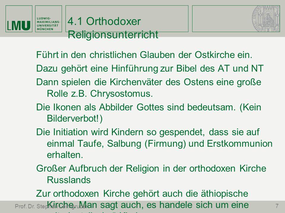 4.1 Orthodoxer Religionsunterricht Führt in den christlichen Glauben der Ostkirche ein. Dazu gehört eine Hinführung zur Bibel des AT und NT Dann spiel
