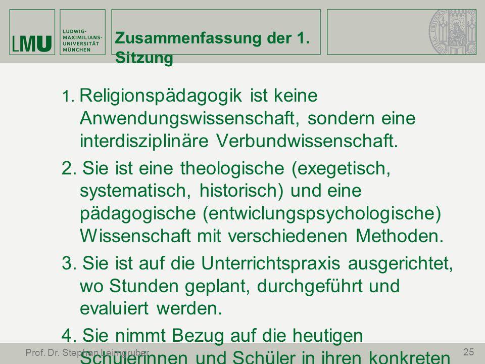 Zusammenfassung der 1. Sitzung 1. Religionspädagogik ist keine Anwendungswissenschaft, sondern eine interdisziplinäre Verbundwissenschaft. 2. Sie ist