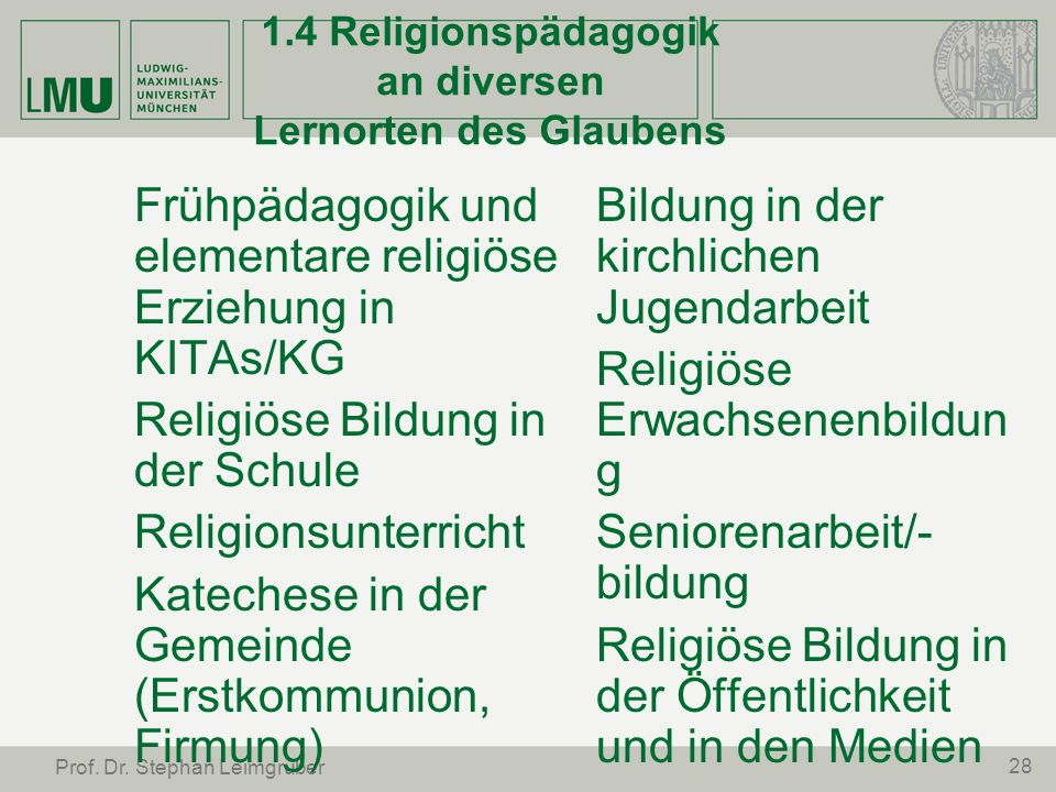 28 Prof. Dr. Stephan Leimgruber 1.4 Religionspädagogik an diversen Lernorten des Glaubens Frühpädagogik und elementare religiöse Erziehung in KITAs/KG
