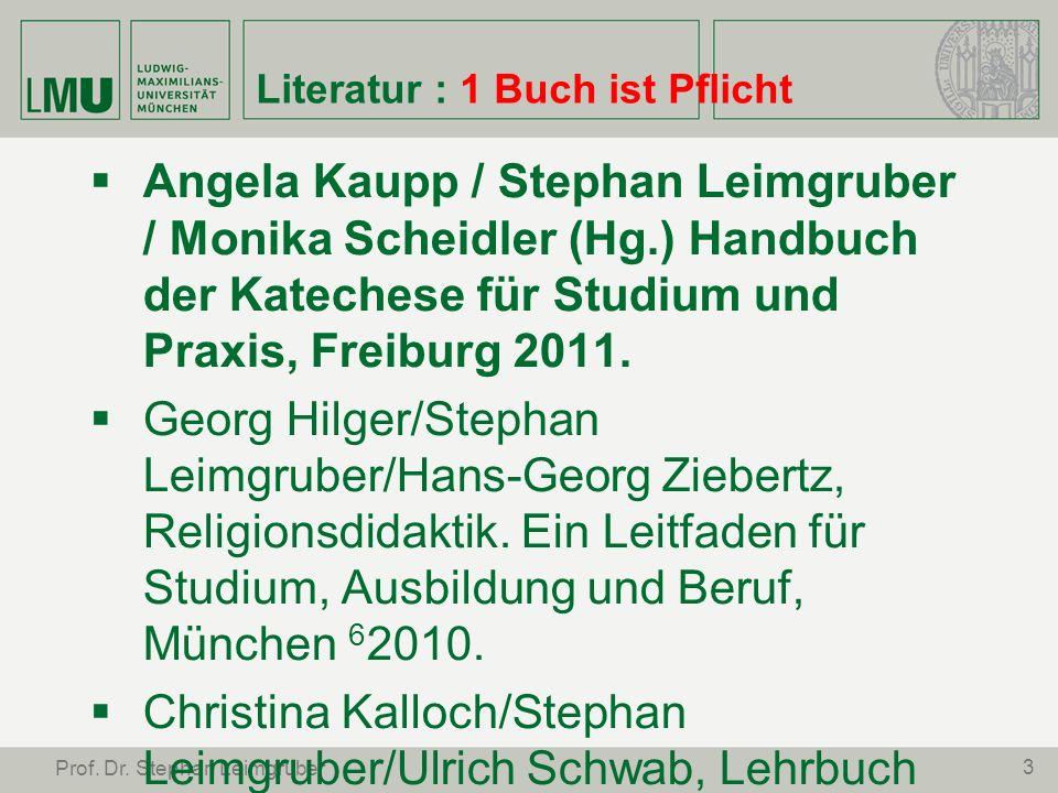 3 Prof. Dr. Stephan Leimgruber Literatur : 1 Buch ist Pflicht Angela Kaupp / Stephan Leimgruber / Monika Scheidler (Hg.) Handbuch der Katechese für St