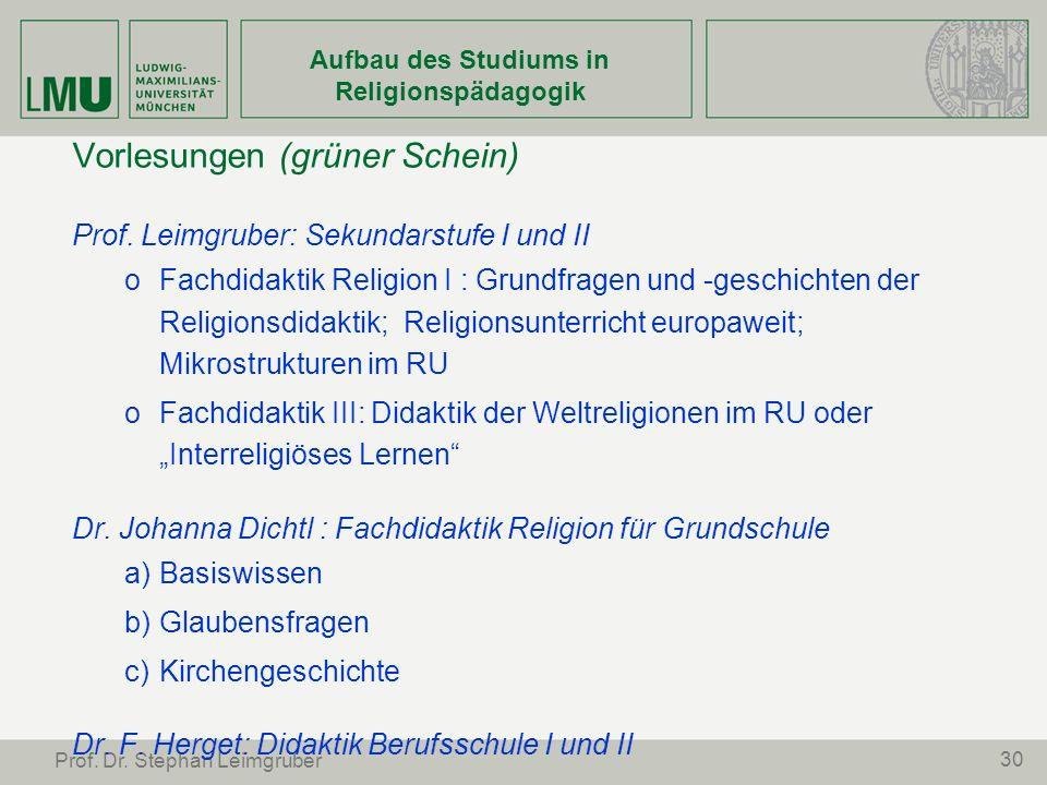 30 Prof. Dr. Stephan Leimgruber Aufbau des Studiums in Religionspädagogik Vorlesungen (grüner Schein) Prof. Leimgruber: Sekundarstufe I und II oFachdi