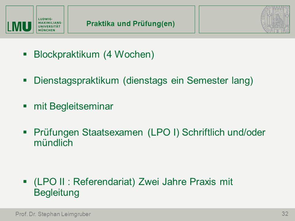 32 Prof. Dr. Stephan Leimgruber Praktika und Prüfung(en) Blockpraktikum (4 Wochen) Dienstagspraktikum (dienstags ein Semester lang) mit Begleitseminar