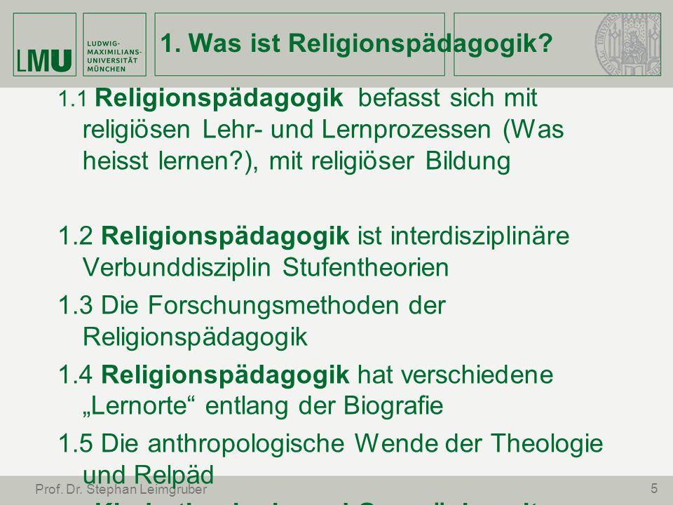 5 Prof. Dr. Stephan Leimgruber 1. Was ist Religionspädagogik? 1.1 Religionspädagogik befasst sich mit religiösen Lehr- und Lernprozessen (Was heisst l