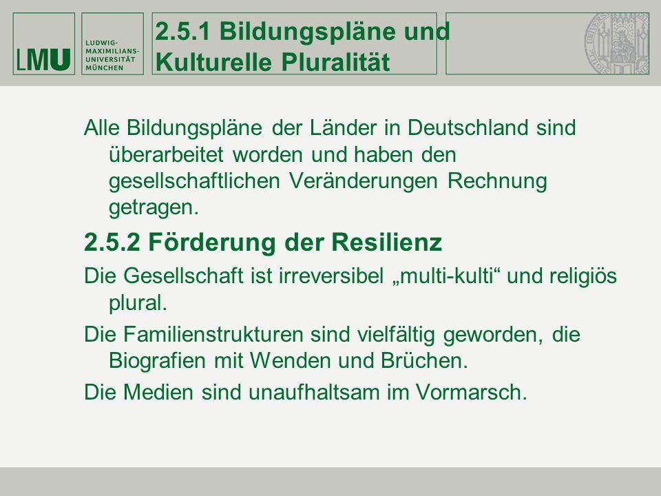 2.5.1 Bildungspläne und Kulturelle Pluralität Alle Bildungspläne der Länder in Deutschland sind überarbeitet worden und haben den gesellschaftlichen V