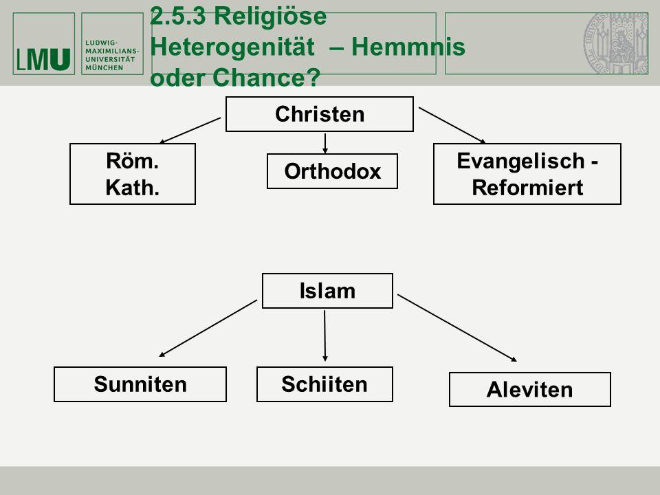 2.5.3 Religiöse Heterogenität – Hemmnis oder Chance? Christen Röm. Kath. Orthodox Evangelisch - Reformiert Islam SunnitenSchiiten Aleviten