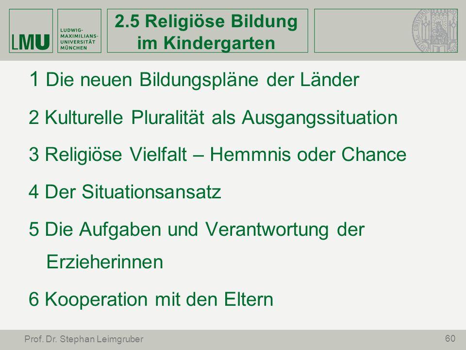60 Prof. Dr. Stephan Leimgruber 2.5 Religiöse Bildung im Kindergarten 1 Die neuen Bildungspläne der Länder 2 Kulturelle Pluralität als Ausgangssituati