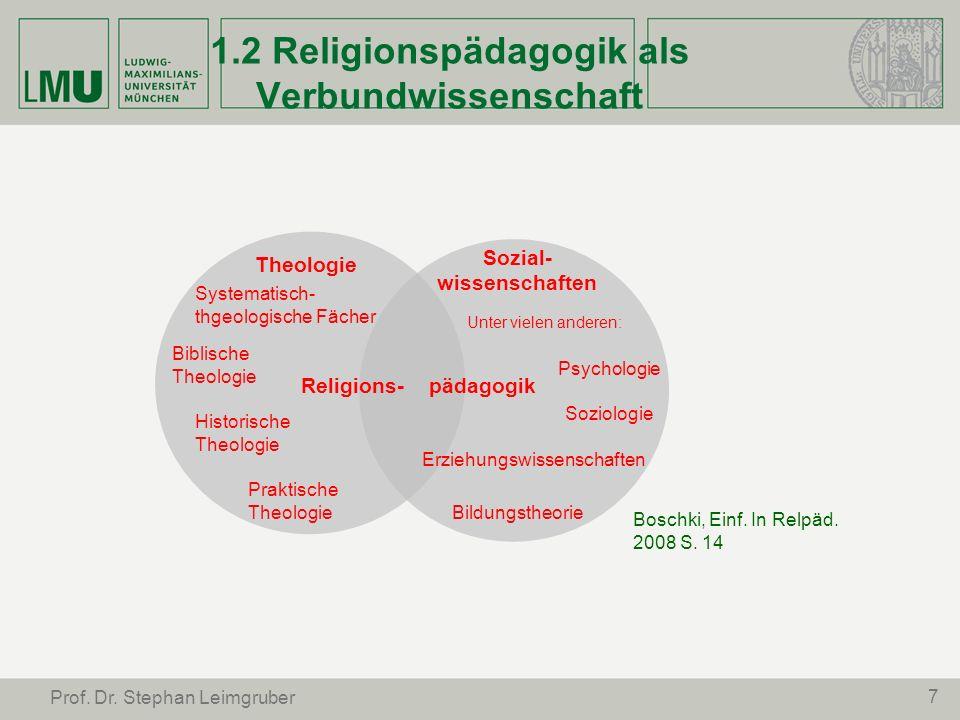 7 Prof. Dr. Stephan Leimgruber 1.2 Religionspädagogik als Verbundwissenschaft Theologie Systematisch- thgeologische Fächer Biblische Theologie Histori