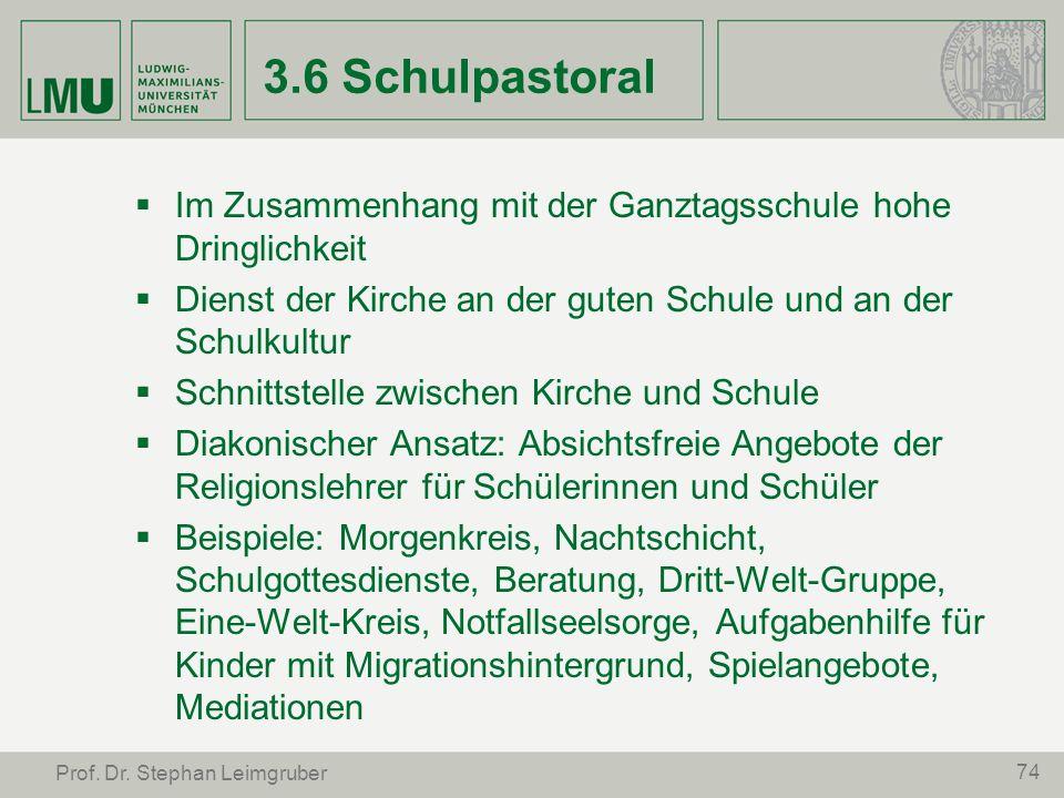 74 Prof. Dr. Stephan Leimgruber 3.6 Schulpastoral Im Zusammenhang mit der Ganztagsschule hohe Dringlichkeit Dienst der Kirche an der guten Schule und